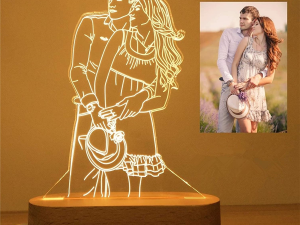 Personalized Anniversary Gift for Couples, 3D Illusion LED Lamp