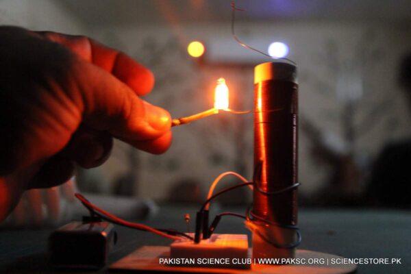 diy tesla coil tower neon bulb testing